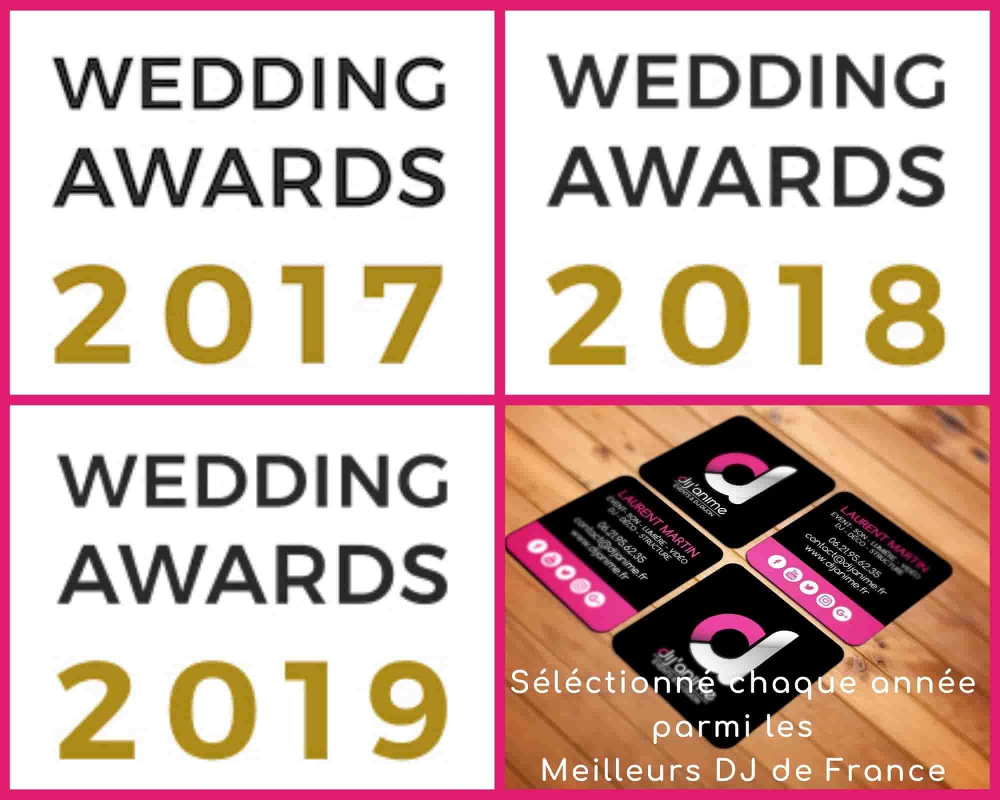 Wedding awards 2018 des meilleures entreprises du domaine nuptial et meilleur dj de france